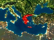 Griechenland im Rot nachts Lizenzfreie Stockbilder