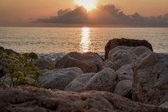Griechenland-Insel von Lefkas-Sonnenuntergang lizenzfreies stockbild