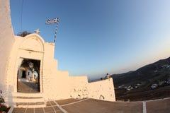 Griechenland-Inselansicht und -flagge stockbilder