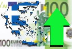Griechenland-Karte auf Eurogeldhintergrund und dem grünen Pfeilsteigen lizenzfreie abbildung