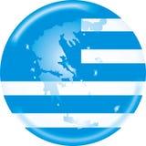 Griechenland-Karte und Markierungsfahne Stockfotos