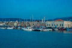 Griechenland, Kreta, Sonnenuntergang im Abendlicht Chania Xania zur Stadt ha Stockbilder