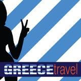 Griechenland-Reise mit Illustration des Mädchens und zwei Fingers Lizenzfreie Stockfotos