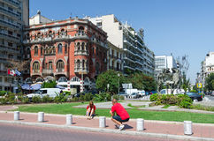 Griechenland, Saloniki Rote Haus oder Villalogos Stockfoto