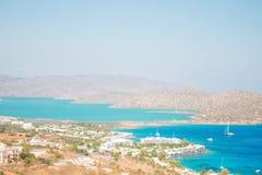 Griechenland Schöner Schacht mit Booten stockbilder
