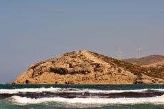 Griechenland-Sprungswindmühlen des Ägäischen Meers Stockfoto
