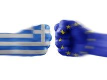 Griechenland u. EU - Widerspruch Stockfotografie
