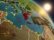 Griechenland vom Raum während des Sonnenaufgangs Stockbild