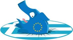 Griechenland-Wirtschaftlichkeitskrisenkonzept. Piggy Querneigung sinkt in die griechische Flagge. lizenzfreie abbildung
