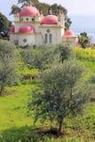 Griechisch-orthodoxe Kirche der zwölf Apostel in Capernaum, Israel Lizenzfreie Stockfotos