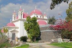 Griechisch-orthodoxe Kirche der zwölf Apostel in Capernaum, Israel lizenzfreies stockbild