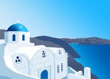 Griechisch-orthodoxe Kirche in Santorini-Insel Lizenzfreie Stockfotos