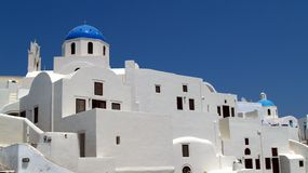 Griechisch-orthodoxe Kirchen, Oia, Santorini Stockfotografie