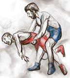 Griechisch-romanischer Ringkampf Ein lebensgroße Hand gezeichnetes IL Lizenzfreie Stockfotografie