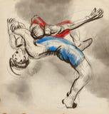 Griechisch-romanischer Ringkampf Ein lebensgroße Hand gezeichnetes IL Lizenzfreies Stockfoto