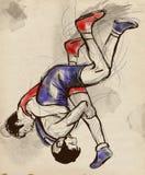 Griechisch-romanischer Ringkampf Ein lebensgroße Hand gezeichnetes IL Lizenzfreie Stockfotos