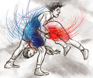 Griechisch-romanischer Ringkampf Ein lebensgroße Hand gezeichnetes IL Stockfotografie