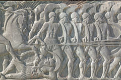 Griechische alte gleichplakette an großem Alexander-Monument, Griechenland Lizenzfreie Stockbilder