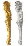 Griechische alte Statue der Karyatiden auf weißem Hintergrund Lizenzfreie Stockfotos
