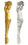 Griechische alte Statue der Karyatiden auf weißem Hintergrund Lizenzfreies Stockfoto
