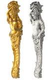 Griechische alte Statue der Karyatiden auf weißem Hintergrund Lizenzfreies Stockbild