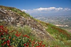 Griechische Ansicht, Acrocorinth Lizenzfreie Stockfotos