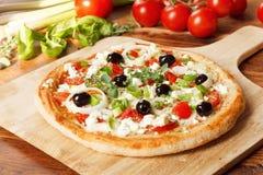 Griechische Artpizza Stockfoto