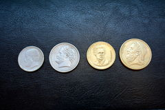 Griechische Drachme - Münzen von verschiedenen Bezeichnungen Stockbild