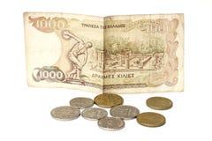 Griechische Drachme und Münzen Stockbild