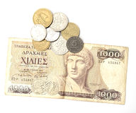 Griechische Drachme und Münzen Stockfotografie
