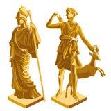 Griechische goldene Statuen Wo des Kriegers und des Schäfers Lizenzfreies Stockbild