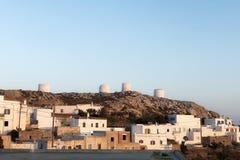 Griechische Insel Amorgos in der chora Sonnenuntergangzeit lizenzfreies stockbild