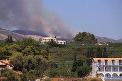 Griechische Insel Bush-Feuers von Zakynthos Lizenzfreies Stockbild