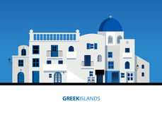 Griechische Inseln Ansicht der typischen griechischen Inselarchitektur auf blauem Himmel vektor abbildung