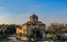 Griechische Kirche in Athen am schönen sonnigen Tag stockfoto