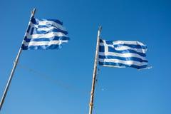 Griechische Markierungsfahnen Stockbild