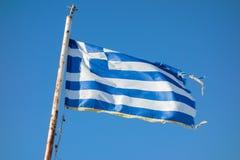 Griechische Markierungsfahnen Stockfotos