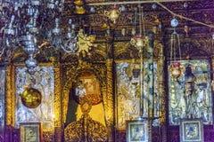 Griechische orthodoxe Ikonen-Kirchen-Geburt Christi Bethlehem Palästina Lizenzfreie Stockbilder