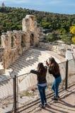 Griechische Ruinen von Atticus Odeon Herodes, Athen, Griechenland Lizenzfreies Stockfoto