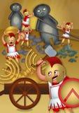 Griechische Soldaten, die den Tempel plündern Stockfotos
