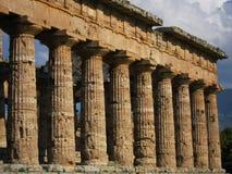Griechische Spalten eines Tempels in Paestum stockbild
