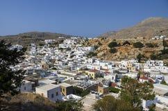Griechische Stadt des schönen Panoramablicks von Lindos Stockbilder