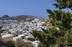 Griechische Stadt des schönen Panoramablicks von Lindos Stockfotos