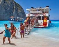 In griechischer Insel Zakynthos schwimmen, Griechenland lizenzfreie stockfotos
