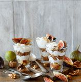 Griechischer Jogurt mit Feigen und Granola Lizenzfreie Stockbilder