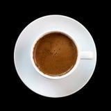 Griechischer Kaffee, getrennt auf schwarzem Hintergrund Lizenzfreies Stockfoto