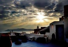 Griechischer Patio auf der Insel von Santorini, Italien Stockfoto