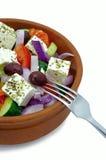 Griechischer Salat in Clay Bowl Lizenzfreie Stockbilder