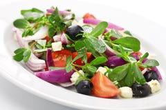 Griechischer Salat mit Purslane Stockfoto