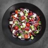 Griechischer Salat-obenliegende Ansicht Lizenzfreies Stockfoto